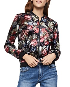 BCBGeneration - Floral Crushed Velvet Bomber Jacket