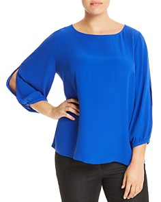 Eileen Fisher Plus - Silk Slit-Sleeve Top