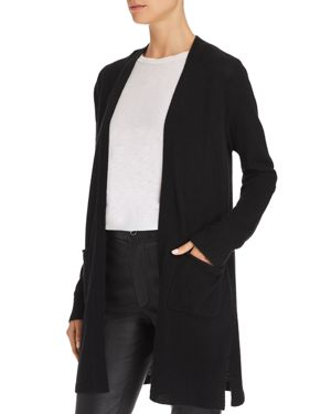 Two-Pocket Open-Front Mid-Length Cashmere Cardigan in Black