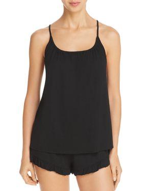 NATURAL SKIN Ruffle-Trim Short Pajama Set in Black