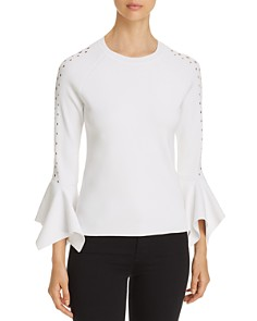 Elie Tahari - Naaz Perforated Bell-Sleeve Sweater