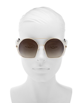 MARC JACOBS - Women's Mirrored Brow Bar Round Sunglasses, 58mm