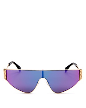 Moschino - Women's Mirrored Flat Top Shield Sunglasses, 145mm