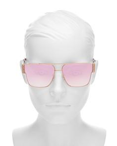 Moschino - Women's Mirrored Brow Bar Flat Top Square Sunglasses, 60mm