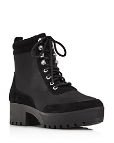 AQUA - Women's Go Hiker Round Toe Lace-Up Platform Booties - 100% Exclusive