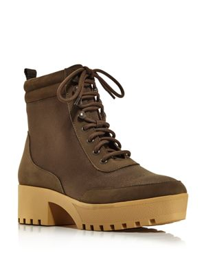 AQUA Women'S Go Hiker Round Toe Lace-Up Platform Booties - 100% Exclusive in Olive