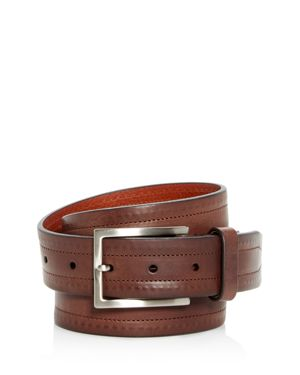 TRAFALGAR Wesley Topstitch Leather Belt in Brown