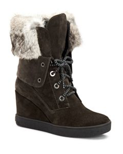 7b8f499ea754 Splendid Women s Catalina Suede   Shearling Lace Up Wedge Booties ...