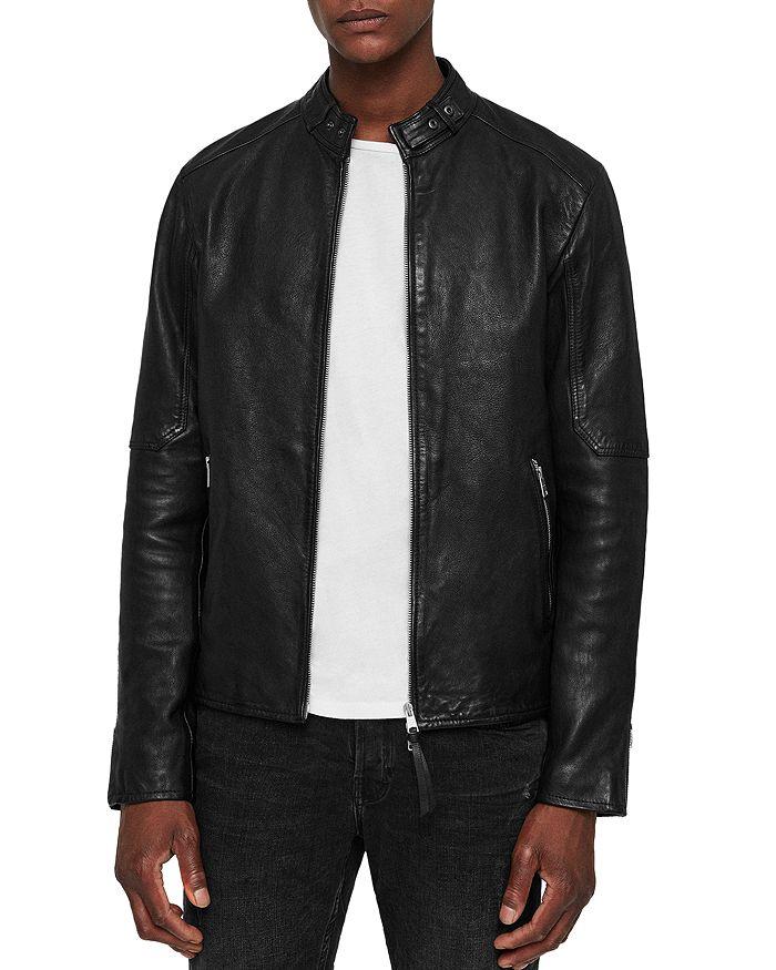 Allsaints Cora Leather Moto Jacket In Jet Black