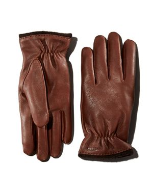 HESTRA Samuel Knit-Trimmed Leather Gloves in Chocolate