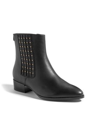 Studded Leather Ankle Boots in Black