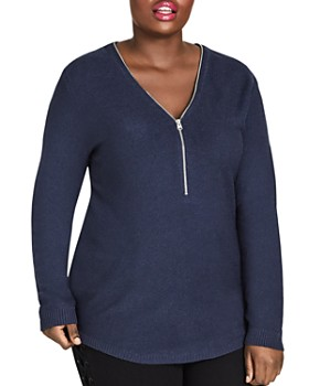 City Chic Plus - Zipper V-Neck Sweater