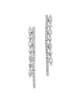 KC Designs - 14K White Gold Diamond Double Row Drop Earrings
