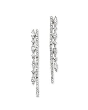 KC DESIGNS 14K White Gold Diamond Double Row Drop Earrings