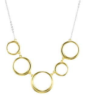 """Argento Vivo - Two-Tone Circles Necklace 18K Gold-Plated Sterling Silver & Sterling Silver, 15"""""""