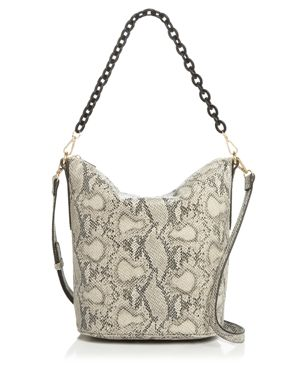 STREET LEVEL Snake Print Hobo With Chain Handle in Snake/Gold
