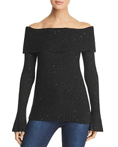 Design History - Off-the-Shoulder Sparkle Sweater