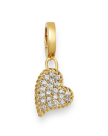 Roberto Coin - 18K Yellow Gold Charm Set Diamond Heart Charm