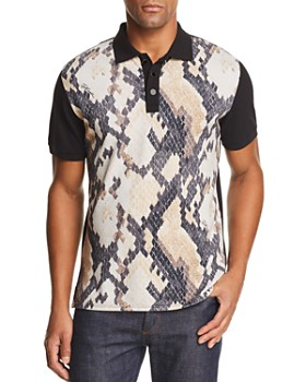 Just Cavalli - Color-Block Snake-Print Polo Shirt