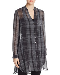 Go by Go Silk - Sheer Plaid Tunic Top
