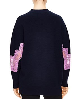 Sandro - Mystère Sheer Lace-Inset Sweater