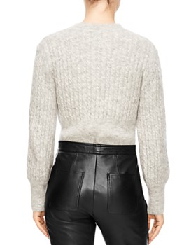 Sandro - Soyeux Cropped Cable-Knit Sweater