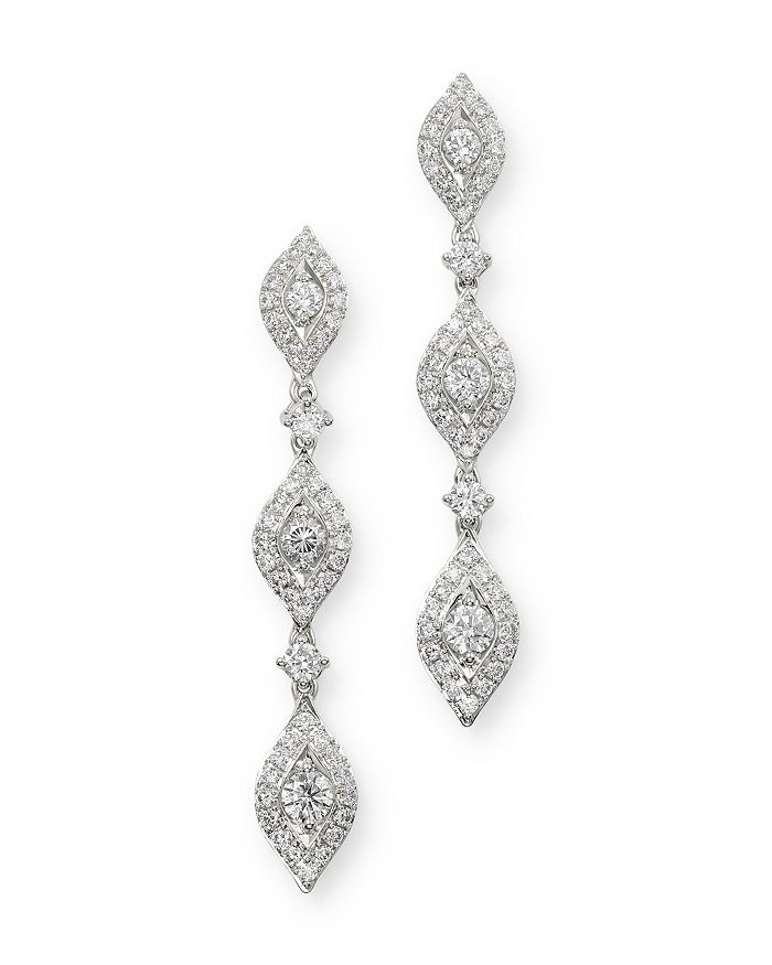 Bloomingdale's - Pavé Diamond Drop Earrings in 14K White Gold, 1.60 ct. t.w. - 100% Exclusive