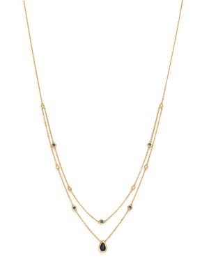 Bloomingdale's Blue Sapphire & Diamond Layered Necklace in 18K Yellow Gold, 18 - 100% Exclusive