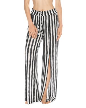 ISABELLA ROSE Ships Ahoy Striped Crochet Cover-Up Pants in Black/ White