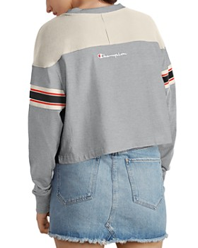 Champion - Striped-Sleeve Cropped Tee