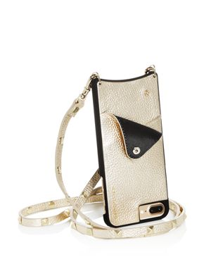 BANDOLIER Sarah Studded Leather Iphone Crossbody in Gold