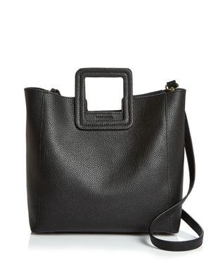 TMRW STUDIO Antonio Medium Leather Satchel in Black/Gold