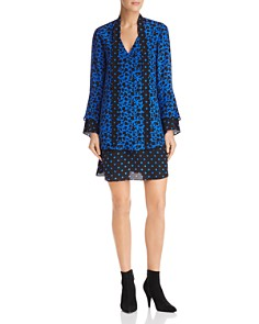 Alice and Olivia - Wellesly Floral & Polka Dot Tie-Neck Dress