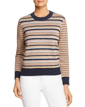 Tory Burch - Metallic Mixed-Stripe Sweater