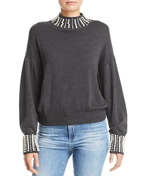 AQUA - Embellished Mock-Neck Sweater - 100% Exclusive