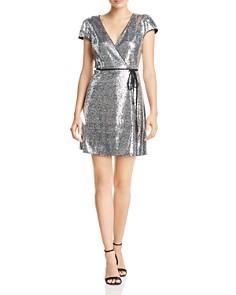 AQUA - Sequined Cap-Sleeve Wrap Dress - 100% Exclusive