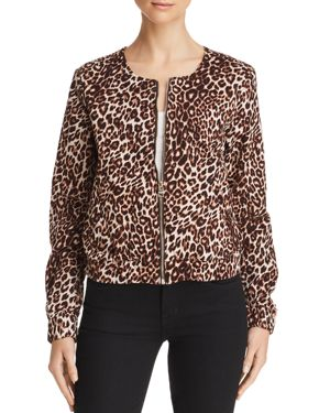 GUESS Leopard-Print Bomber Jacket in Spotted Bengal Rinse Wash