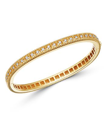Roberto Coin - 18K Yellow Gold Byzantine Barocco Diamond Single Row Bangle Bracelet
