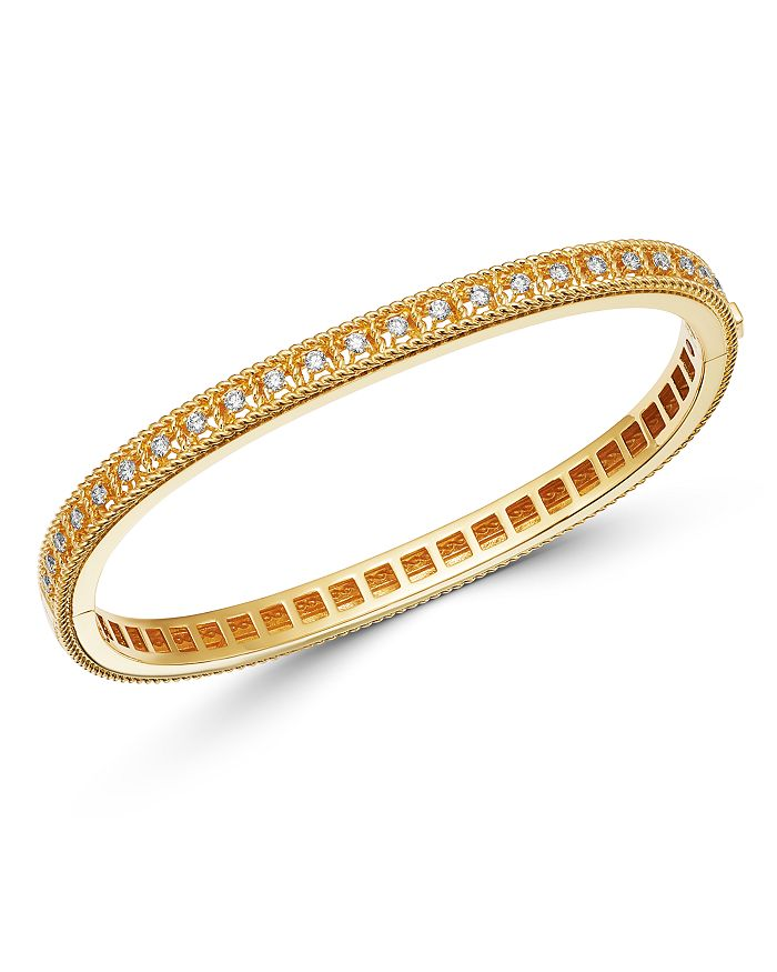 Roberto Coin 18K YELLOW GOLD BYZANTINE BAROCCO DIAMOND SINGLE ROW BANGLE BRACELET