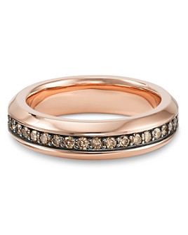 David Yurman - Streamline Band Ring in 18K Rose Gold with Cognac Diamonds