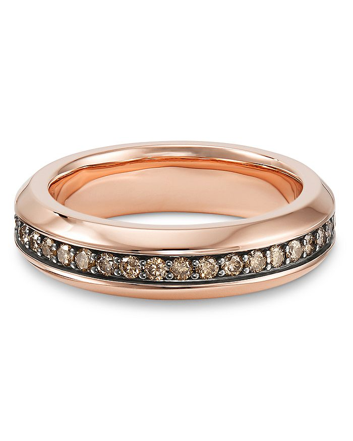 David Yurman - Streamline® Band Ring in 18K Rose Gold with Cognac Diamonds