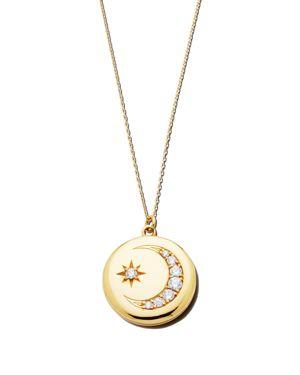 SASHA SAMUEL 14K Yellow Gold Plate Heather Locket Necklace With Cubic Zirconia, 20