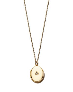 SASHA SAMUEL 14K Yellow Gold Plate Jess Locket Necklace With Solitaire Cubic Zirconia, 20