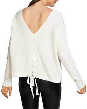 1.STATE - Waffle-Knit Lace-Up-Back Sweater