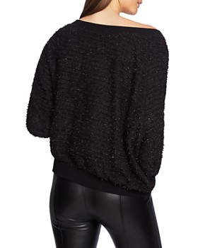 1.STATE - Off-the-Shoulder Eyelash Sweater
