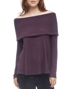 B COLLECTION BY BOBEAU B Collection By Bobeau Off-The-Shoulder Sweater in Plum Perfect