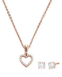 Michael Kors - Heart Pendant Necklace & Stud Earrings in 14K Gold-Plated Sterling Silver, 14K Rose Gold-Plated Sterling Silver or Sterling Silver Box Set
