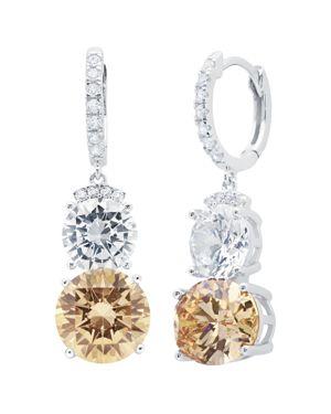 CRISLU Champagne Double Drop Earrings In Platinum-Plated Sterling Silver in Orange/Silver
