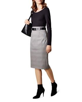 KAREN MILLEN - Belted Glen Plaid Pencil Skirt