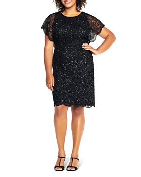Adrianna Papell Plus - Beaded Flutter Sleeve Dress